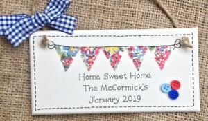 Personalised CATH KIDSTON Home Housewarming Plaque Sign Moving Sweet Bunting ⭐