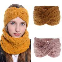 Ear Headband Cross Warmer Knitted Hairband Fall Headwrap Crochet Elastic Wool