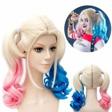Suicide Squad Harley Quinn Wig Gradient Hair Blue+Pink Fancy Cosplay Party Hobby