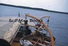 KODACHROME Red Border Slide Old Wooden Boat Pretty Woman Men Smoking Winch 1940s