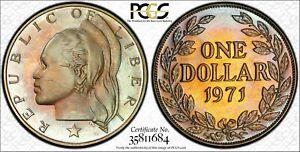 1971 LIBERIA ONE DOLLAR PCGS PR65CAM ONLY 2 GRADED HIGHER WORLDWIDE