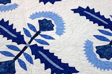 Blue & White Hand Applique Cox Comb- FINISHED QUILT - antique look - queen size