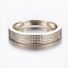 Solid 14K Yellow Gold Real Diamonds Band Ring Bridal Wedding Fine Party Jewelry