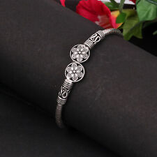 "925 Sterling Silver Unique Designer Handcrafted Bangle Length 2.2"" EB-69"