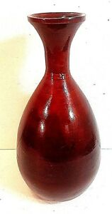 """CONTEMPORARY RED LACQUERED SPUN BAMBOO VASE 16"""" TALL. Must See!"""