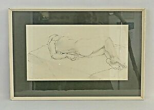 Noreen Grant (British) (20th C) Framed, Signed, Pencil Study of A Reclining Nude