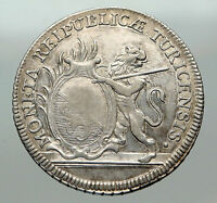 1776 SWITZERLAND Swiss Canton of ZURICH Old LION 1/2 Thaler Silver Coin i84952