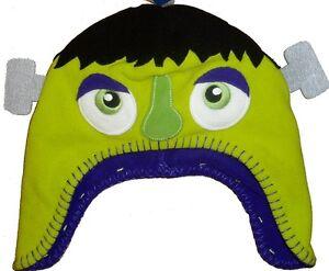 Fleece Beanie Halloween Hat Green Monster Warm Little Boys Girls Scary Kids