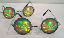 2 SKULL X BONES HOLOGRAM SUNGLASSES pirate cross bone NEW glasses fashion items