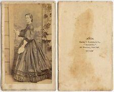 CDV PORTRAIT OF CIVIL WAR ERA WOMAN IN SATIN DRESS BY FREDRICKS, NY, STUDIO