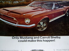 1968 FORD MUSTANG SHELBY COBRA GT 500 ORIGINAL AD-Convertible/GT500/350/top/hood