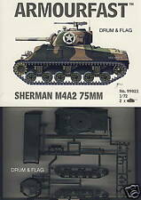 ARMOURFAST 99021. SHERMAN M4A2 75MM. 2 x 1/72 SCALE PLASTIC TANKS