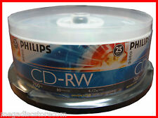 25 Philips Logo 12X CD-RW CDRW ReWritable 700MB 80 Min 25 CDs in Cake Box