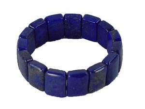 BUTW Afghanistan Lapis Lazuli Beads Stretch Bracelet Lapidary Carving 1359K