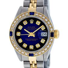LADIE ROLEX S/STEEL AND 18K YELLOW GOLD BLUE VIGNETTE DIAMOND & SAPPHIRE WATCH