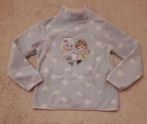 C&A Mädchen 98-110 sweatshirt Jacke Pullover Hell Blau Mit 💗 Elsa&Anna Fleece