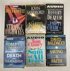 Lot Of  6 Audio Books On Cassette Tape Mystery Thriller Baldacci, Clancy +4 More