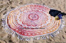 Indian Circle of Mandala Orange Round Ombre Mandala Cotton Tapestry Beach Throw