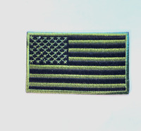 """USA American Flag Patch 1-3/4""""x3-1/8"""" olive color Iron On Or Sew On"""