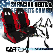 T-R Black Red Cloth PVC Reclinable Racing Bucket Seats Pair w/Black Belt Harness