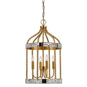 Cal Lighting Glenwood 4 Light Metal Pendant, French Gold - FX-3599-4