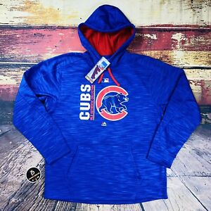 Mens L Team Issue Chicago Cubs Therma Base Baseball Hoodie Sweatshirt Majestic