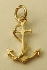 GENUINE SOLID 9K  9ct YELLOW GOLD 3D ANCHOR SHIP SEA OCEAN CHARM/PENDANT