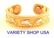 Dolphins Alloy Magnetic Adjustable Band Two Tone Toe Ring Multi-Colored MTR-H