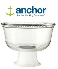 Anchor Hocking Isabella Glass, Ceramic Footed Punch Bowl / Trifle Bowl