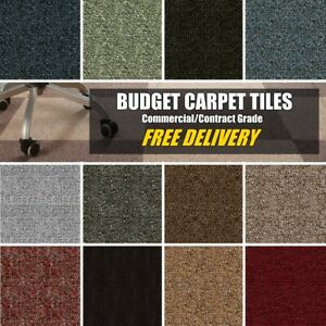 BUDGET Select CARPET TILES Contract Commercial Office Hard Wearing 20 Tiles Box