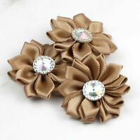 "10/100Pcs 1.5"" Satin Ribbon Brown Cute Flower Costume Appliques DIY Sewing Craft"