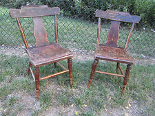 York Pa Pair Antique Painted Decorated Plank Bottom Side Chairs George Hay rare