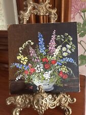 More details for vintage miniature floral still life oil painting (on canvas)