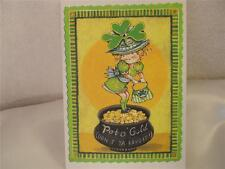 Handmade Blank Inside St. Patrick's Day Card Whimsical & A Pot of Gold