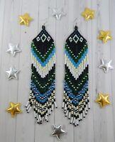 Beaded earrings Boho style Fringe earrings Seed bead earrings Long earrings