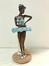 FIGURINE AFRICAN WOMAN  BALLERINA  RESIN CAST 7 1/2 IN TALL EXCELLENT CONDITION