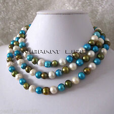 "Freshwater Pearl Necklace Ac 48"" 8-10mm White Blue Olive"