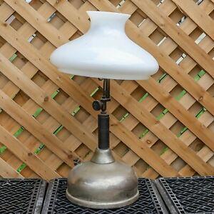 Vintage Coleman Quick Lite Kerosene Table Top Lamp with Milk Glass Shade