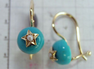s 968 Genuine 9K Solid Gold Natural Turquoise & Pearl Earrings with Hook Closure