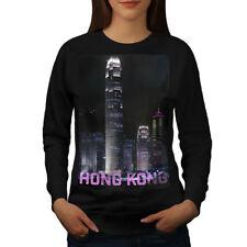 Wellcoda Hong Kong Night Fashion Womens Sweatshirt, China Casual Pullover Jumper