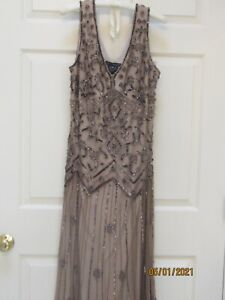 Pissaro Nights Gown Beaded Sheer Overlay Size 14W Rayon ~ Roaring 20's look