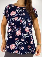 TARGET Navy Blue Pink Floral Print Short Sleeve Blouse Top Plus Size AU 18 Boho