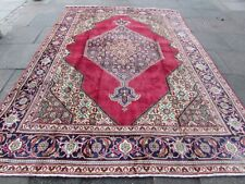 Shabby Chic Vintage Traditional Hand Made Rug Oriental Red Wool Carpet 338x242cm