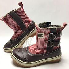 Sorel Tivoli Stripes Slip Snow Winter Double Buckle Ankle Boots Women 6 Wing Tip