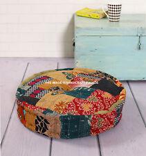 45 cm Round Footstool Ottoman Pouffe Stool Indian Kantha Fabric Foot Rest Kids
