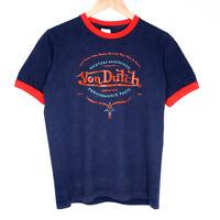 Von Dutch Originals Womens Ringer T-Shirt Size Medium Navy Blue