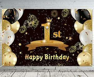 Happy 1st Birthday Gold& Black Photography Backdrop Banner Party Decor For Baby
