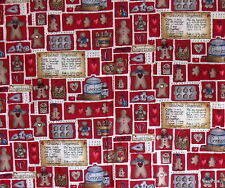 Dianna Marcum RED gingerbread cookie recipe cotton fabric collage half yard cut