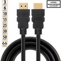 LOT 1.5ft 2ft 3ft 6ft 10ft 15ft 25ft 30ft 50ft 66ft Premium HDMI Cable v1.4 Gold