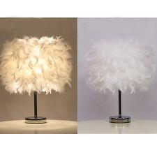 Metal Vintage Feather Shade Table Lamp Elegant Bedside Desk Night Light Decor